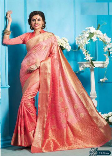 wedding Wear Saree Indian ethnic zari Bollywood bridal silk pink Sari blouse new   eBay