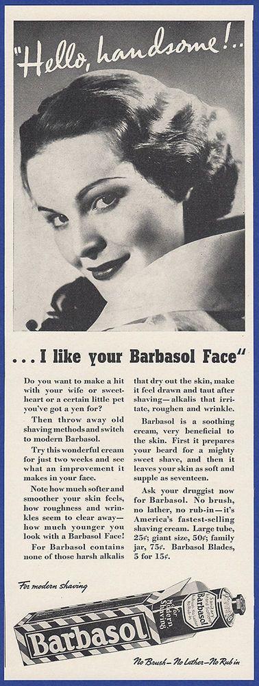 Vintage 1937 BARBASOL Shaving Cream Bathroom Vanity Decor Ephemera Print Ad 30's #Barbasol