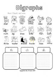 English worksheet: Digraphs - th - ch - sh