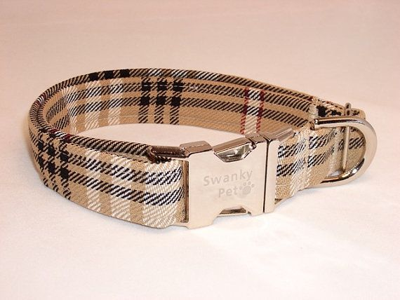 Stylish 'Furr'berry Tan Plaid Dog Collar by Swanky Pet