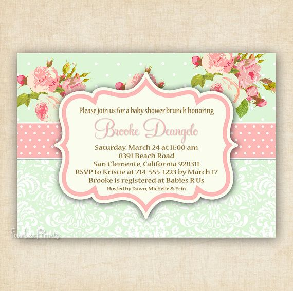 Green and Pink Shabby Chic Floral and Damask - Baby Shower Invitation - Printable - DIY