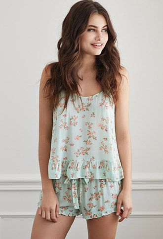 Ruffled Rose Print PJ Set | Forever 21 - 2049257222