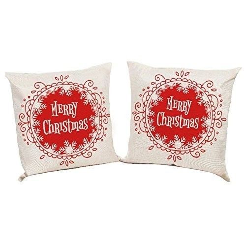 """Christmas Cushion Cover 18"""" Ramie Polyester Xmas Case Set Of 2 Red/White #easy_shopping08"""