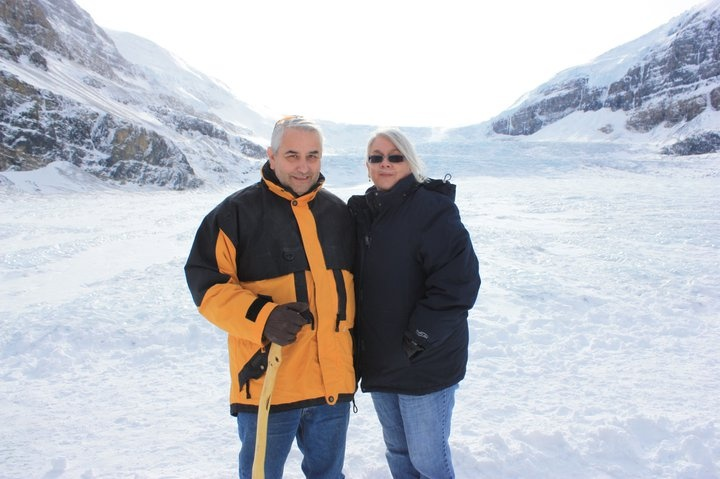 Standing on the Athabasca Glacier.