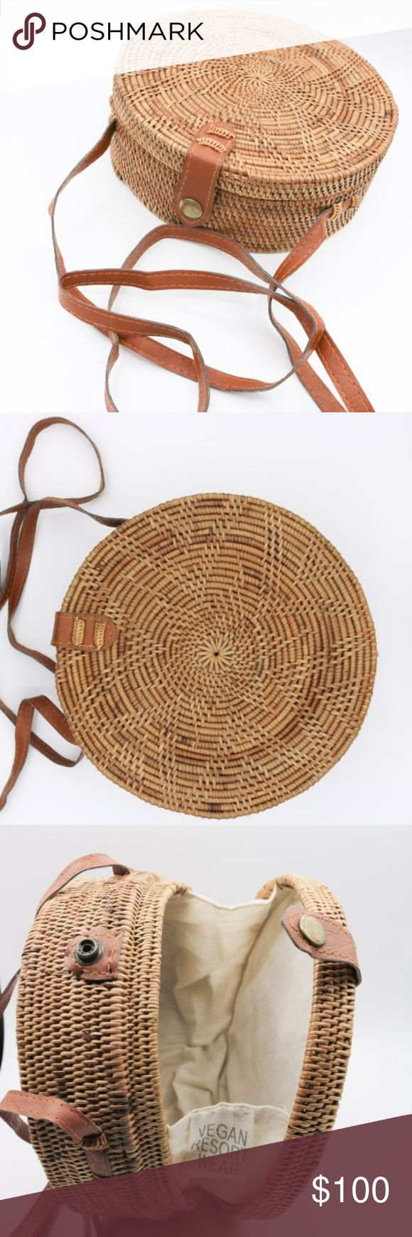 Ata straw bag from Bali Diameter 8 inched. Each bags come with a dust bag.  Handmade by artisans in Bali.  Straps made of vegan leather, so 100% vegan and cruelty-free! Bags Crossbody Bags