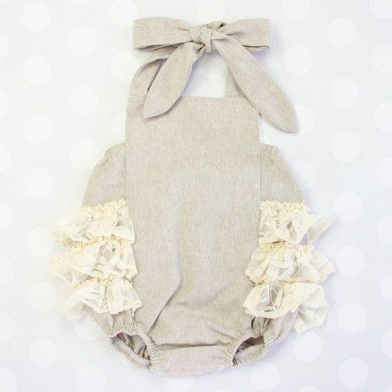 Linen & Lace Ruffle Bubble Romper  Lace Ruffles  by CadenLaneGifts
