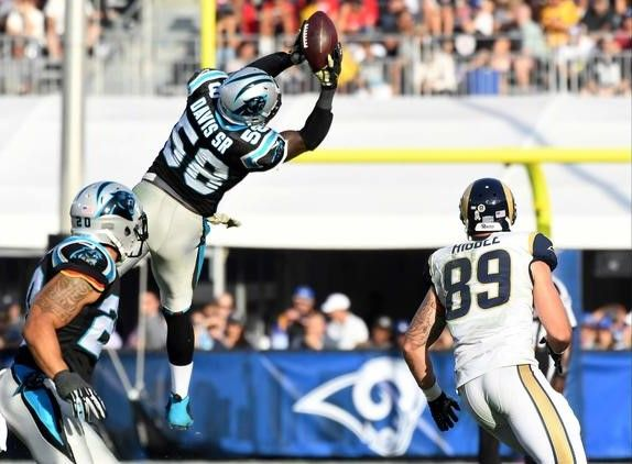 Panthers vs. Rams:  13-10, Panthers  -   Thomas Davis, Tyler Higbee  -  Panthers linebacker Thomas Davis intercepts a pass in front of Rams receiver Tyler Higbee during the third quarter.