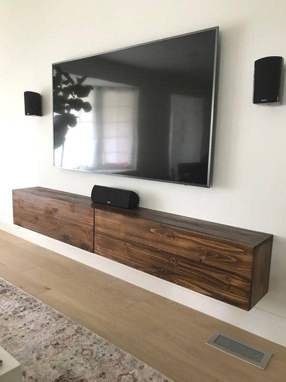 Floating Tv Console With 2 Felt Lined Drawers Schwimmende Tv Konsole Mit 2 Filz Ausgekleidet Schubla Floating Tv Console Living Room Tv Tv Console Decorating