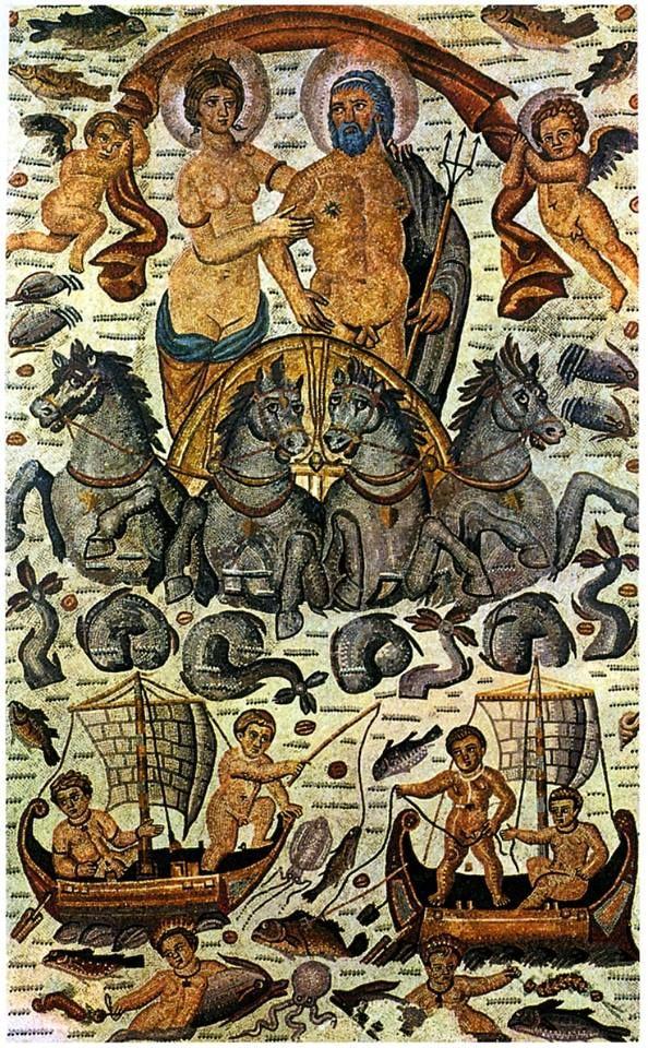 Triumph of Amphitrite and Neptune (Poseidon), Roman mosaic, 4th century AD…