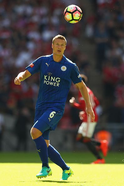 Robert Huth of Leicester City during the Community Shield match between Leicester City and Manchester United at Wembley Stadium on…