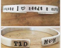 T1D awareness cuff bracelet. Type 1 Diabetes Someone I love needs a cure - Type 1 Diabetes Bracelet