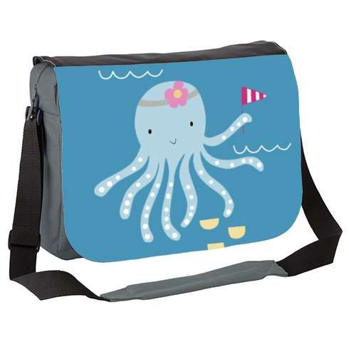 Octopus Messenger Bag by kathrinlegg   octopus, nautical, kids, children, happy, smile, girl, flower, birthday, celebrate, flag, swim, ocean, water, sea, wildlife, animal, nature, wild, world, animal kingdom, hippy, love