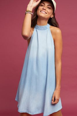 Love this dress. Hoping it will go on sale soon   Anthropologie Cloth & Stone Chambray High-NeckSwing Dress https://www.anthropologie.com/shop/cloth-stone-chambray-high-neck-swing-dress?cm_mmc=userselection-_-product-_-share-_-4130259838461