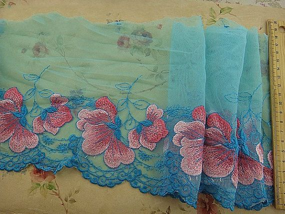Cyan Tulle Lace Trim Pink Flowers Embroidered by ILoveCraft2012, $6.99