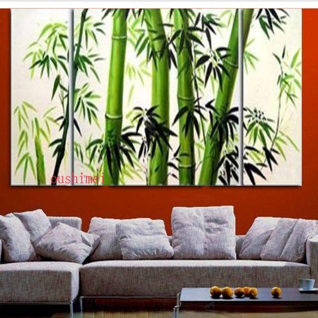 Hecho a mano 3 unids/lote De Bambú Moderna Cuadros En Lienzo Verde Árbol Paisaje Pintura Al Óleo Sin Marco Abstracto Para la Sala de Pared arte