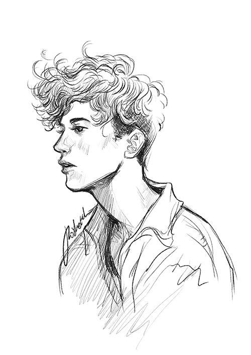 Chico joven dibujo a lápiz