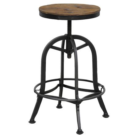 """Featuring a bell-shaped iron base topped with an adjustable swiveling reclaimed fir wood seat, this chic barstool brings industrial appeal to your home. Adjustable seat height up to 28"""" Handmade Distressed finish Hand-painted 9"""" From footrest to floor Felt foot pads 250 lbs Weight capacity Firm seating comfort Product Weight: 22 lbs DIMENSIONS  24-28"""" H x 15"""" Diameter $52.95"""