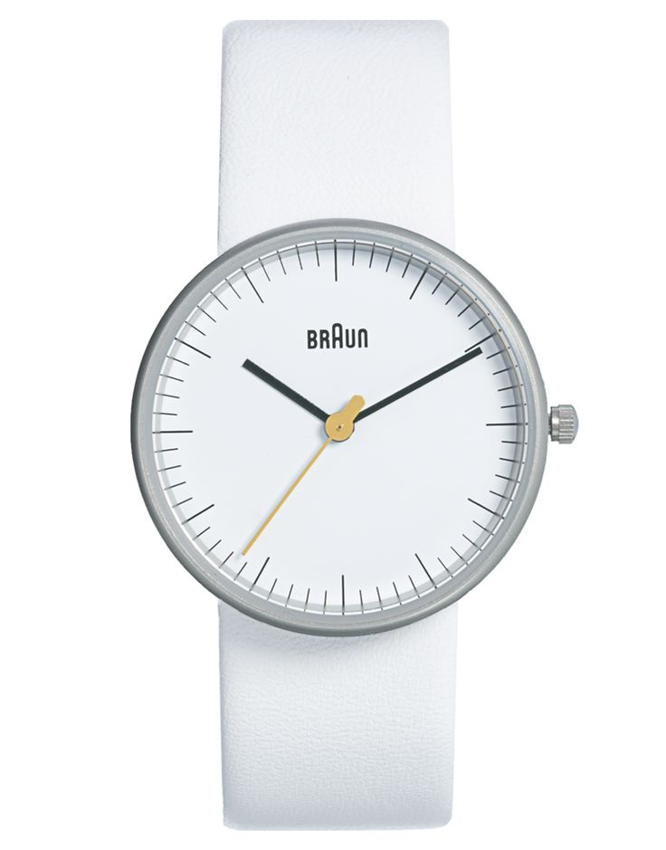Braun's elegant and awesome white watch. I want one of these.