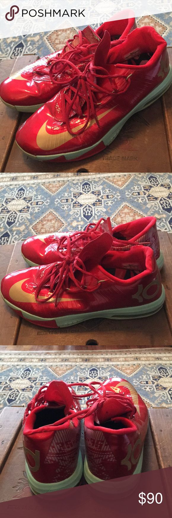 Nike KD Air Max Zoom Red Basketball Shoes Size 11 KD's in good used condition. They have a couple of minor flaws as shown but nothing a good cobbler can't reasonably repair or touch up. They are discounted as a result. Nike Shoes Athletic Shoes