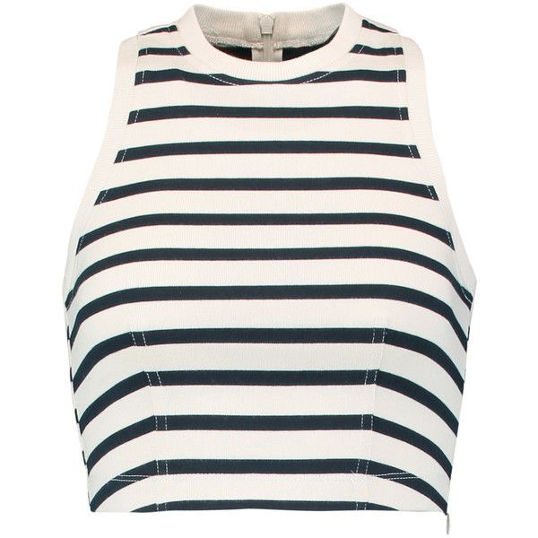 T by Alexander Wang Cropped striped cotton top ($82) ❤ liked on Polyvore featuring tops, midnight blue, crop top, stripe top, cream top, white top and white crop top
