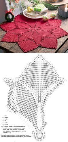 Centro de mesa em crochê, de oito pontas (com gráfico)