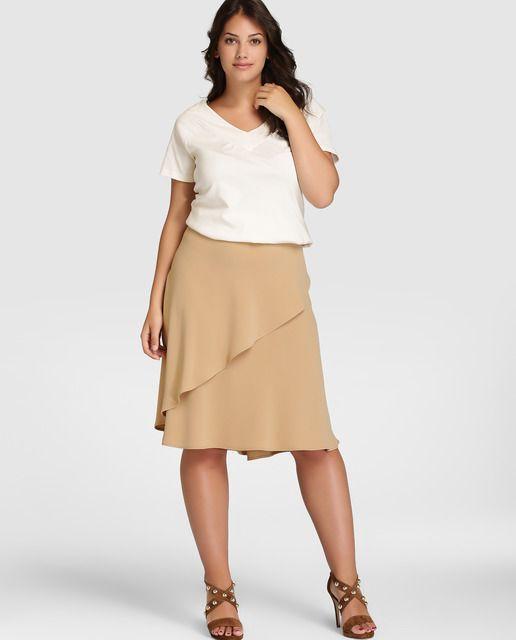 Falda corta de mujer talla grande Lauren Woman en beige