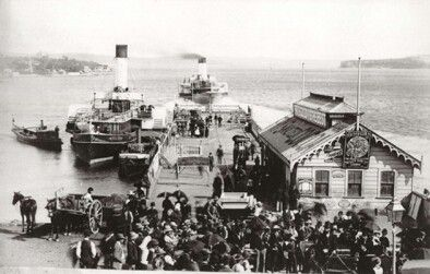 Catching the ferry at Manly wharf (year unknown).A♥W