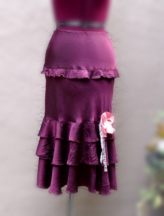 Gypsy Satin Ruffle Skirt Sugar Plum Eco Fashion by KheGreen