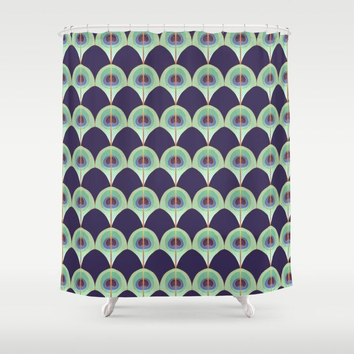 Buy Peacock Feather Art Deco Shower Curtain By Olooriel Worldwide