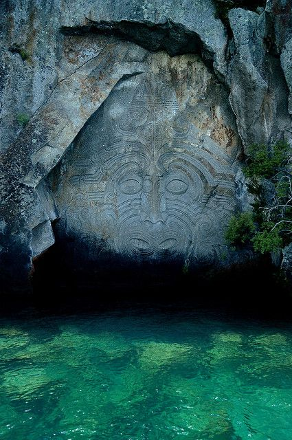 Maori Carvings at Mine Bay on Lake Taupo, New Zealand