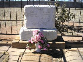 The fatal shot in the dark by Pat Garrett that ended the reign of Billy. Billy the Kid's Grave at Fort Sumner, New Mexico. legendsofamerica.com