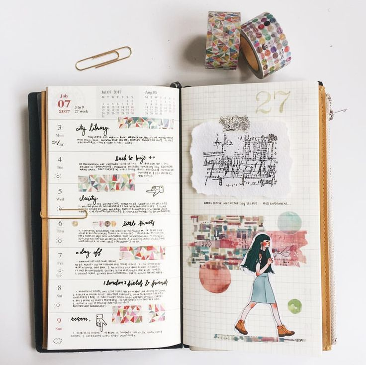 """424 Likes, 18 Comments - Bea (@tdpjournals) on Instagram: """"Week 27 in my Traveler's Notebook. Sort of using the weekly layout to note things to be grateful…"""""""