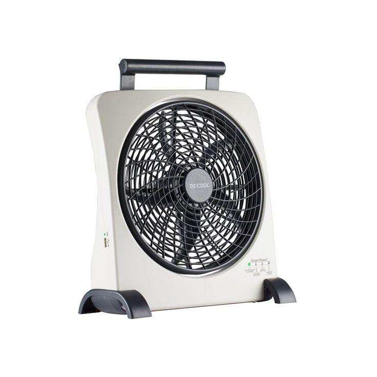 O2Cool Smart Power 10-Inch Portable Fan, Grey