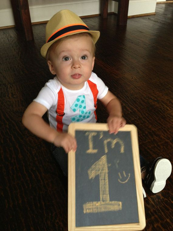 Boys FIRST BIRTHDAY ONESIE with SuspendersAqua by BetterThanBows, $19.95