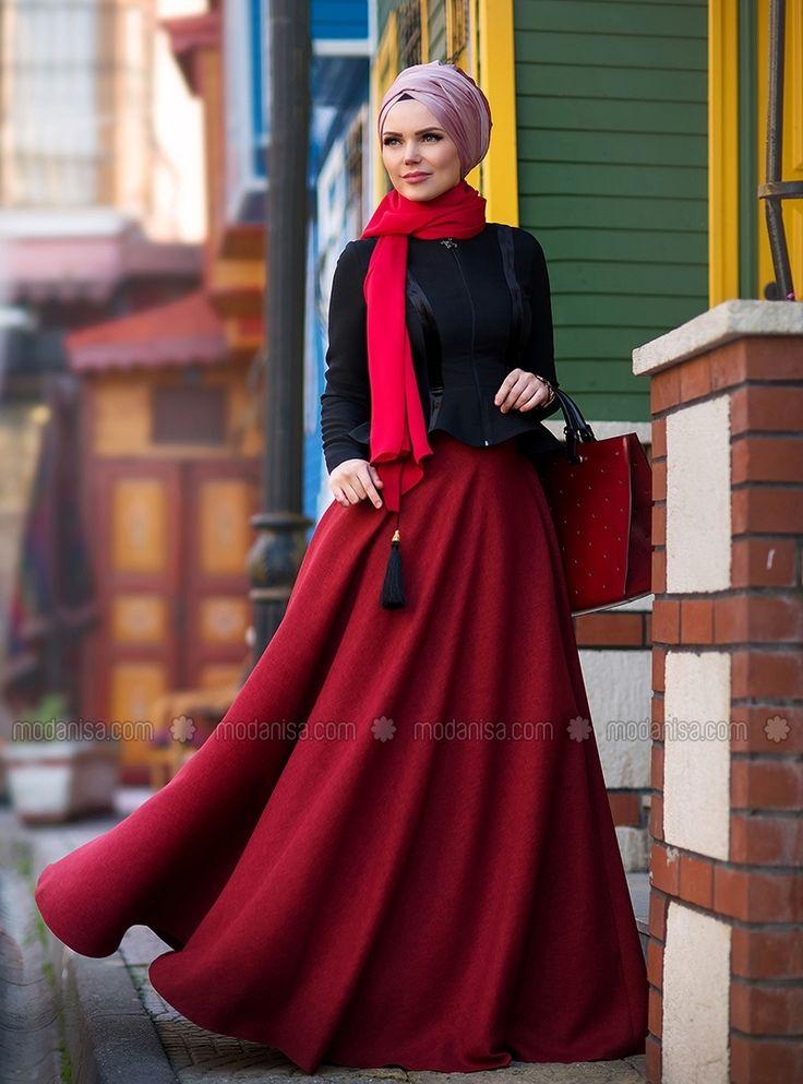 Flare Skirt - Maroon - Muslima Wear
