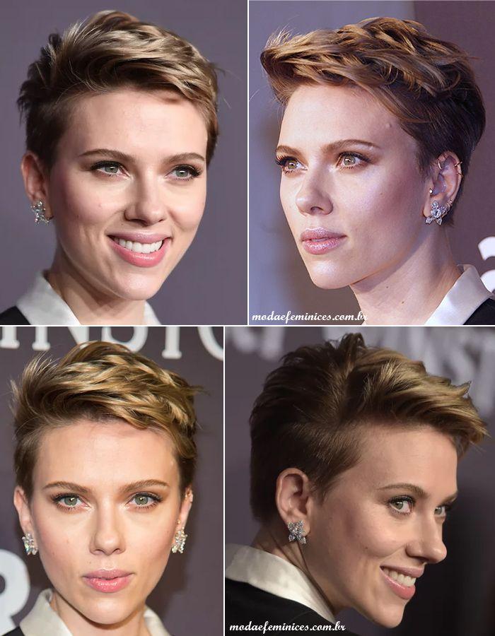 Scarlett Johansson cut hair, short hair pixie, cabelos curtos, corte joãozinho - Looks do amfAR 2017 em NY   http://modaefeminices.com.br/2017/02/11/looks-do-amfar-2017-em-ny/