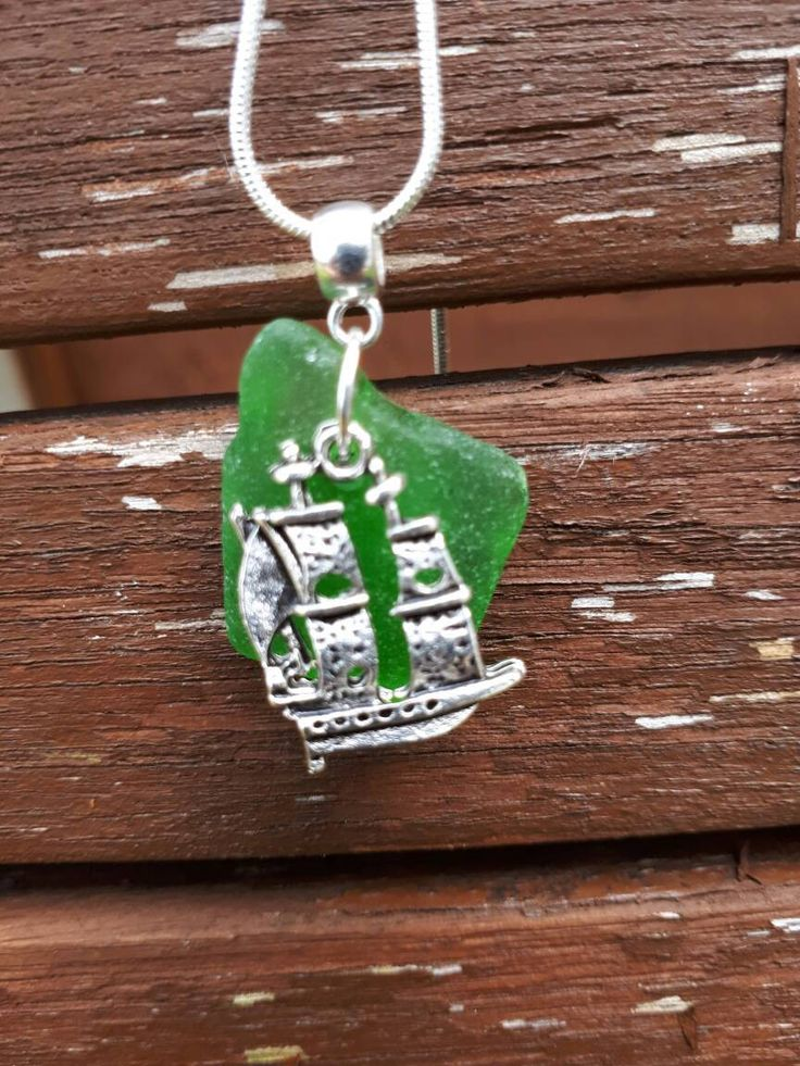Irish green seaglass pendant necklace with silver ship charm by MelcooDesigns on Etsy