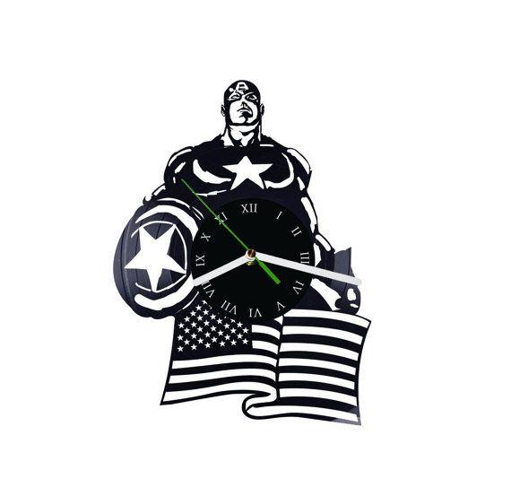 superhero captain america vinyl wall clock by puffpuffdesign