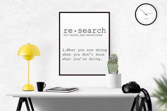 DEFINITION OF RESEARCH Funny Wall Art Printable by TypoWorld