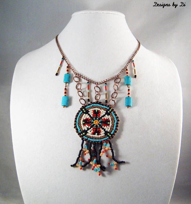 Tribal Coraling Medallion Necklace