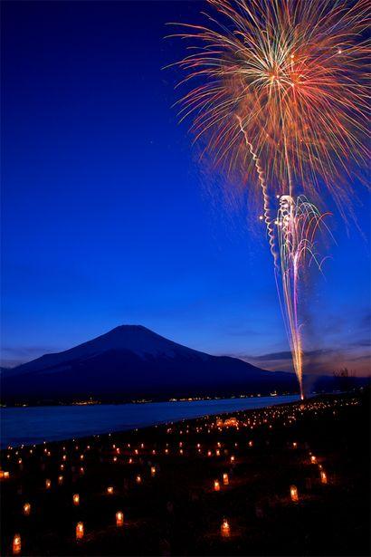 Fireworks at Lake Yamanaka with Mount Fuji, Yamanashi, Japan