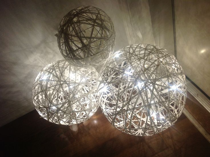 Lightning balls made from paper yarn by LeenaH