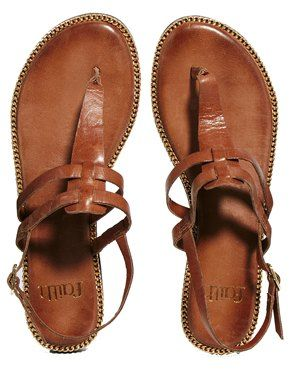 Image 3 ofFaith Brown Strap Flat Sandals
