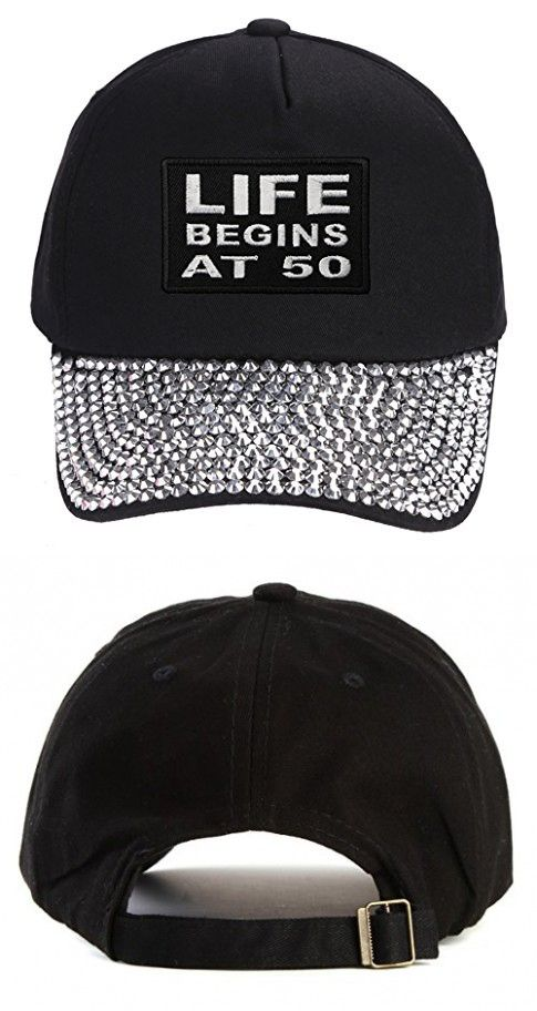Life Begins At 50 Hat - Rhinestone Black Adjustable Womens - Funny Quote Cap.  Great Birthday Gift for Friend 07f6b6bc7476