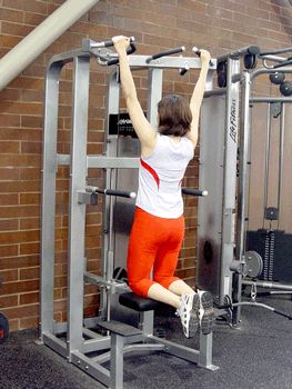 How to use the assisted pull-up machine to help you progress to a full pull-up. | via @SparkPeople