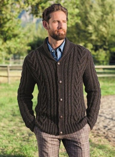 Cat. 14/15 - n° 862 Cable-knit shawl collar cardigan Patterns