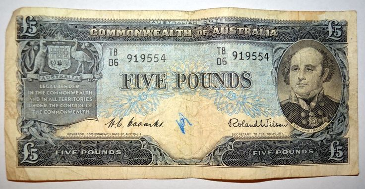 Five Pound Note in Australian Currency/ v@e