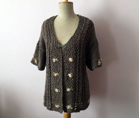 Embroidered Hand Knitted Women's sweater with arans by domklary