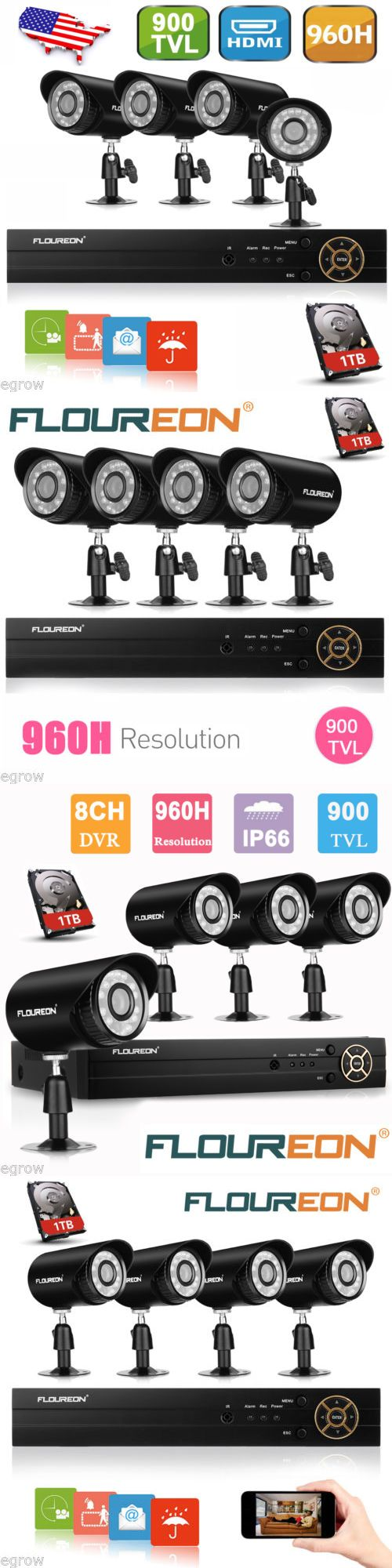 Surveillance Security Systems: 8Ch Hdmi Dvr 900Tvl Cctv Ir Outdoor Home Security Camera System 1Tb Hard Drive BUY IT NOW ONLY: $139.99