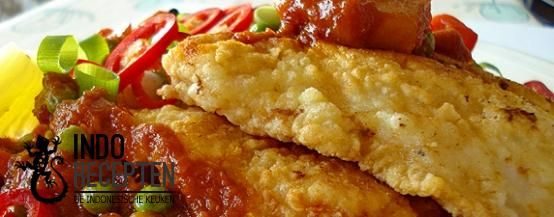 Ikan Goreng Dengan Sayuran - Gebakken visfilet met groente in een zoet/zure saus - Fried fish fillet with vegetables in sweet 'n sour sauce